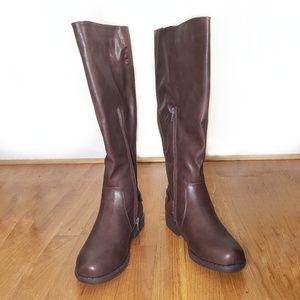 Dark brown tall elastic panel riding boots